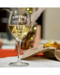 Vintage 1940 80th Birthday Wine Glass