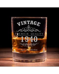 Vintage 1940 80th Birthday Tradional Whisky Glass