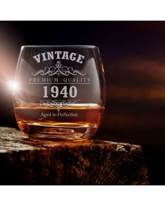Vintage 1940 80th Birthday Curved Whisky Glass