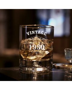 Vintage 1950 70th Birthday Bubble Base Whisky Glass