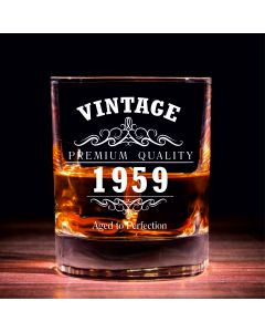 Vintage 1959 60th Birthday Traditional Whisky Glass