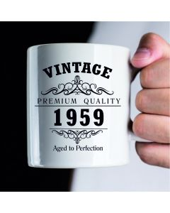 Vintage 1959 60th Birthday Ceramic Mug, White, 11 oz