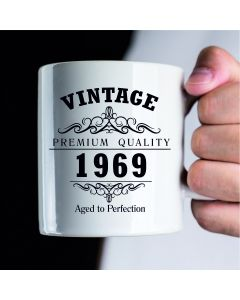 Vintage 1969 50th Birthday Ceramic Mug, White, 11 oz