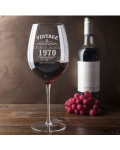 Vintage 1970 50th Birthday Giant Wine Glass