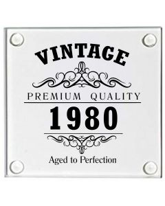 Vintage 1980 40th Birthday Glass Coaster