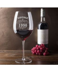 Vintage 1990 30th Birthday Giant Wine Glass