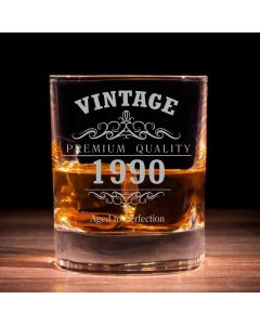 Vintage 1990 30th Birthday Traditional Whisky Glass