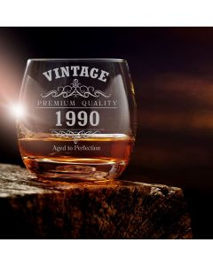 Vintage 1990 30th Birthday Curved Whisky Glass
