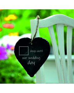 Lapal Dimension Wedding Day Countdown Slate Heart With Chalk - 9cm