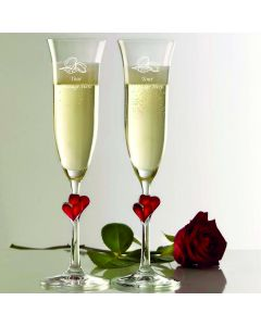 Stolzle Red Heart Pair of Champagne Flutes With Engraved Personalised Wedding Rings Design