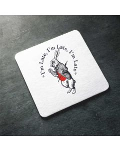 British Library Alice in Wonderland Wooden Coaster with White Rabbit Design