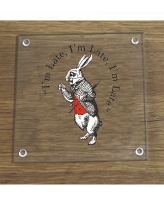British Library Alice In Wonderland Glass Coaster With White Rabbit Design
