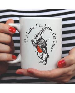 British Library Alice in Wonderland Ceramic Mug with White Rabbit Design