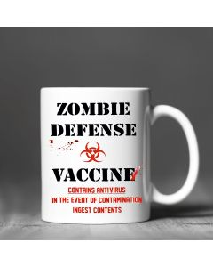 11oz Ceramic Mug With Zombie Defense Vaccine Design
